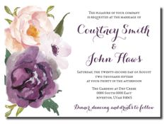 Beautiful Wedding Announcements 6 – One Sided Colorful Wedding Invitations, Affordable Wedding Invitations, Floral Invitation, Floral Wedding Invitations, Wedding Colors, Wedding Flowers, Invites, Floral Watercolor, Watercolor Wedding