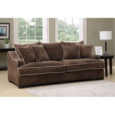 Caresse Feather Blend Pillow Back Sofa with Four Accent Pillows