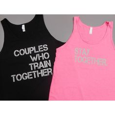 Couples Who Train Together Stay Together Tank Top Set Couples Workout... ($40) ❤ liked on Polyvore featuring activewear, activewear tops, grey, tanks, tops, women's clothing, unisex shirts, workout shirts, gray shirt and logo sportswear