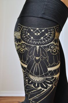 organic bamboo high waisted leggings with by seaofwolvesdesign, $48.00