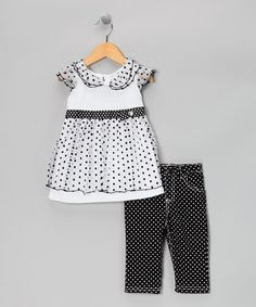 Take a look at this Black & White Polka Dot Dress & Pants - Infant, Toddler & Girls by Nannette on #zulily today!