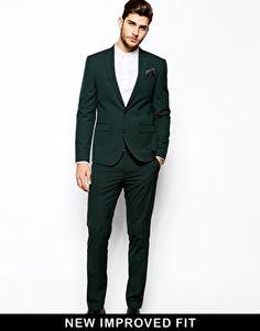 Image 1 ofASOS Slim Fit Suit In Dark Green