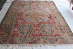 Turkish Kilim RugPastel Anatolian RugDecorative by YKPCarpet