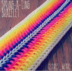 SPRING-A-LING Bracelet     COLOR                                                                                                                                                                                 More Rubber Bands, Rubber Band Crafts, Wonder Loom, Rainbow Loom Patterns, Rainbow Loom Creations, Rainbow Loom Bands, Rainbow Loom Bracelets, Crazy Loom, Bracelets Élastiques