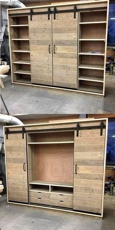 Building a Floor Cabinet From Pallets - Woodworking Finest-- Wonderful Shipping Pallets Closet Ideas Pallet Crafts, Diy Pallet Projects, Wood Projects, Pallet Ideas, Pallet Interior Ideas, Diy Pallet Furniture, Industrial Furniture, Rustic Furniture, Furniture Ideas