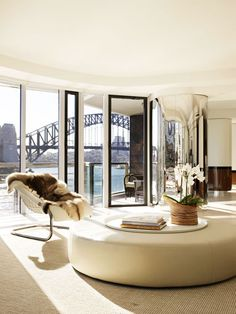 Sydney Harbour.  Window Wall. Amazing view. Finishes of chrome, fur, wood, iron, wool.