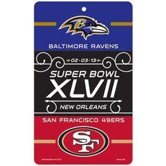 San Francisco 49ers vs. Baltimore Ravens Super Bowl XLVII Dueling 7.25'' x 12'' Plastic Sign