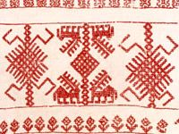Stitched with doube running stitch / my favourite stitch Folk Embroidery, Viking Age, Running Stitch, Scandinavian Design, Finland, Needlework, Birches, Textiles, Traditional