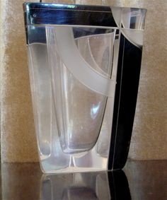 1930s Czech Crystal Triangular Vase • Arc Karl Palda