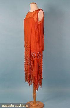 ORANGE BEADED DRESS, 1920s Orange silk chiffon w/ silver, gold & orange beads & beaded fringes w/ slip