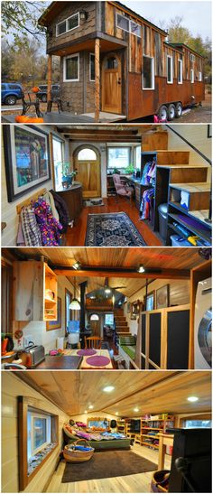 The tiny house sits on a triple axle trailer and has 272-square-feet on the main level and approximately 120-square-feet between the two lofts.  The house features an office nook with a handcrafted desk and drawers made from American Walnut. Throughout the house are 1/4″ pine tongue-and-groove walls and 3/4″ beetle kill pine ceilings.  The L-shaped master loft is large enough for a king bed and cubby space, plus it has a skylight. On the opposite side of the tiny house is the kids' bedroom…