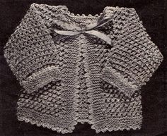 Vintage Knit Baby Sweater Sacque Pattern by DollBabiesReborns, $2.00