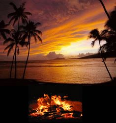 Campfire on Beach at Sunset photo campfire_beach.gif