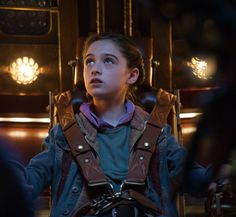 Athena looking a bit nervous and anxious before they blast off from the Eiffel Tower. Athena is played by Raffey Cassidy from Disney's Tomorrowland Movie.