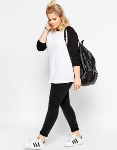 Image 4 of asos curve top with raglan sleeve Cute Lazy Outfits, Curvy Outfits, Plus Size Outfits, Girl Outfits, Casual Outfits, Fashion Outfits, Fashion Styles, Chubby Fashion, Teen Fashion