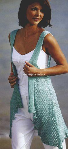 Gorgeous crochet vest ~t~ Gilet Crochet, Crochet Motifs, Crochet Shirt, Crochet Jacket, Crochet Cardigan, Cute Crochet, Crochet Scarves, Beautiful Crochet, Crochet Clothes