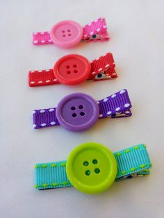 Set of 4 clips. Every day clips.  Bow clips. Baby hair clips. Rainbow hair bows. Set of clips.  Polka dot clips.. $5.50, via Etsy.
