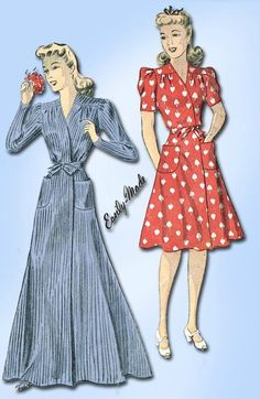 1940s Vintage WWII House Coat or House Dress 1941 Du Barry Sewing Pattern 30 B
