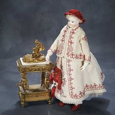 Ensemble - The Hanne Büktas Collection: 110 Very Fine French Porcelain Poupee by Adelaide Huret with Original Costume