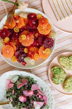Citrus plate and avocado toast