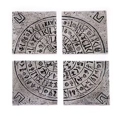 Drink Serving Coasters Set of 4 - Handmade Metal Engraved - Phaistos Disk or Festos Disc Design Handmade Desks, Handmade Kitchens, Office Table Accessories, Fabric Gift Bags, Business Gifts, Practical Gifts, Drink Coasters, Coaster Set, Silver Color