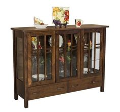 Amish Acadia Curio Cabinet - Quick Ship Beautiful curio cabinet for displaying items. Touch lighting and adjustable glass shelving. Built in Amish country. #curiocabinet #diningstorage #curio