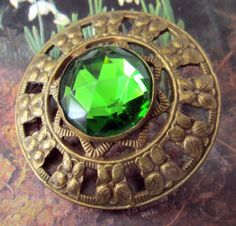 Antique Gay 90's Brass and Faceted GREEN Glass  Button