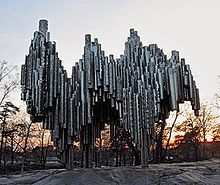 The Sibelius Monument, recembling organ pipes, is made of welded steel with the bust of the composer on one side. The monument is one of Helsink's most well known tourist attractions. Sibelius Monument resembling a pipe organ is 8,5m high, 10,5m wide and 6,5m deep and built of over 600 acid-proof stainless steel pipes welded together individually weighing 24 tons.