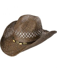0515fe655d8 Scala Brown Bonebead Band Straw Cowboy Hat Cowboy Hats