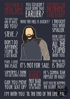 Bucky Barnes / The Winter Soldier poster - Choose from 2 editions (Made to order) Marvel Avengers, Captain Marvel, Marvel Comics, Avengers Quotes, Marvel Quotes, Avengers Movies, Marvel Funny, Marvel Memes, List Of Marvel Characters