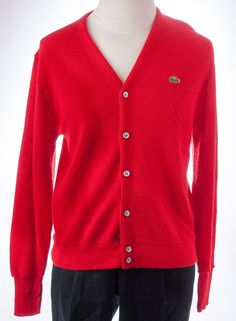 Izod Lacoste Grandpa BF Cardigan Sweater L S Button Front Hipster Mens L  Vtg Red 5b6f9e6c926