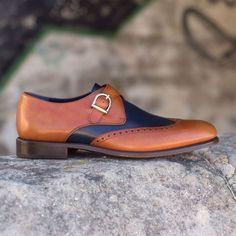 Handmade Men,s Black Tan Leather Monk Shoes, Men,s Formal Shoes, Men Dress Shoes - Boots