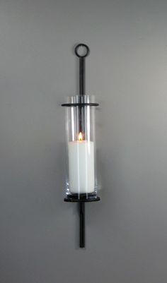 Click to shop candle holders by Hudson and Vine. Classic home decor to bring soft illumination to your farmhouse, french country, modern, Industrial or Bohemian interior design style. Bran Sconce/Vase with Glass Cylinder