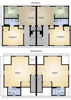 Plan 69377am curb appeal in traditional duplex plan for Kit homes duplex