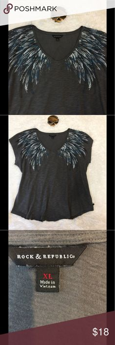 Rock & Republic Angle Wings This is a roomy XL very soft lightweight tee fabric, comfortable.  Blue and gray front has rhinestones.  No flows I. Excellent used condition.  No pets/smoke closet Rock & Republic Tops Tees - Short Sleeve