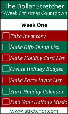 5 Week Christmas Countdown Calendar: Week One - Preparation