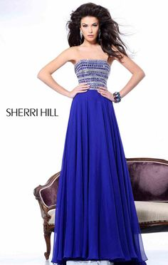 2014 Strapless Jeweled Sherri Hill 1539 A-Line Purple Long Prom Dress