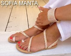 Leather Sandals with Crystal Strass