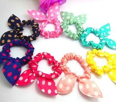 10PCS/LOT Rabbit Ear Hair Tie Bands Accessories fashion syle Ponytail Holder #Generic #PonytailHolders