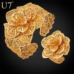 U7 Vintage Bracelet Ring Set Yellow Gold Plated Vintage Pattern Wholesale Exquisite Women Flower Jewelry Set Wedding Gift S561