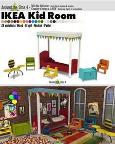 Around the Sims 4 | IKEA-like Kid BedroomSome basic furniture for your kid room, inspired by IKEA, and coming in 28 colors (woods, bright, neutral and pastel) for most of them (not the canopy, nor the armchair).I highly recommend the use of Verona's IKEA bedding to match with the bed frame.