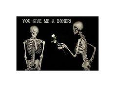 Skeleton Art Print ~ Graphic Adult Humor ~ Love Art, Skulls Bones Horror Macabre Gothic Art ~ Morbid Black Humor ~ Skeleton Decor Anatomy