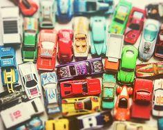 Traffic Jam Vintage Matchbox Toy Cars Race Cars Boys Decor Rainbow Colors Retro Hipster Style Decor Green Yellow, Fine Art Photograph