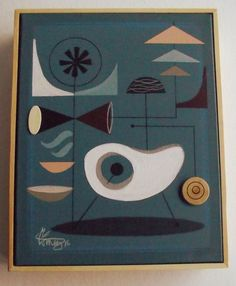 EL GATO GOMEZ PAINTING RETRO MID CENTURY MODERN EAMES GOOGIE ATOMIC ABSTRACT 50S #Modernism