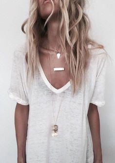 plain white tee. layered necklace.