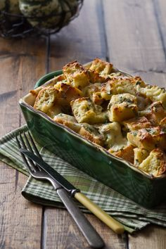 An easy, cheesy savory bread pudding with shallots and white wine!