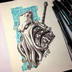 Derek Laufman on - Grafiti. Cool Drawings, Drawing Sketches, Octopus Art, Graffiti Characters, Graffiti Styles, Marker Art, Copics, Creature Design, Doodle Art