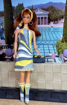 OOAK Barbie Silkstone Integrity Mod Vintage Fashion LEMON SWIRL Clare's Couture #ClaresCouture