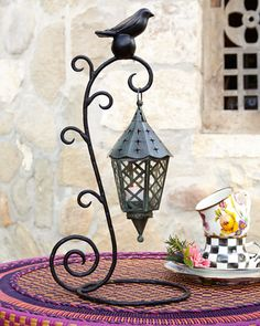 MacKenzie-Childs Bird on Ball Table Lantern Lanterns For Sale, How To Make Lanterns, Home Lighting, Modern Lighting, Table Lanterns, Mckenzie And Childs, Wrought Iron Decor, Lampshades, Metal Art