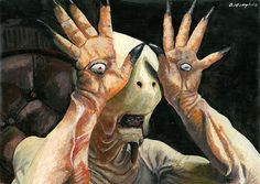 Pan's Labyrinth Pale Man A3 Acrylic painting by Amy Humphries. Original £150, prints available. http://amyhumphries.co.uk/